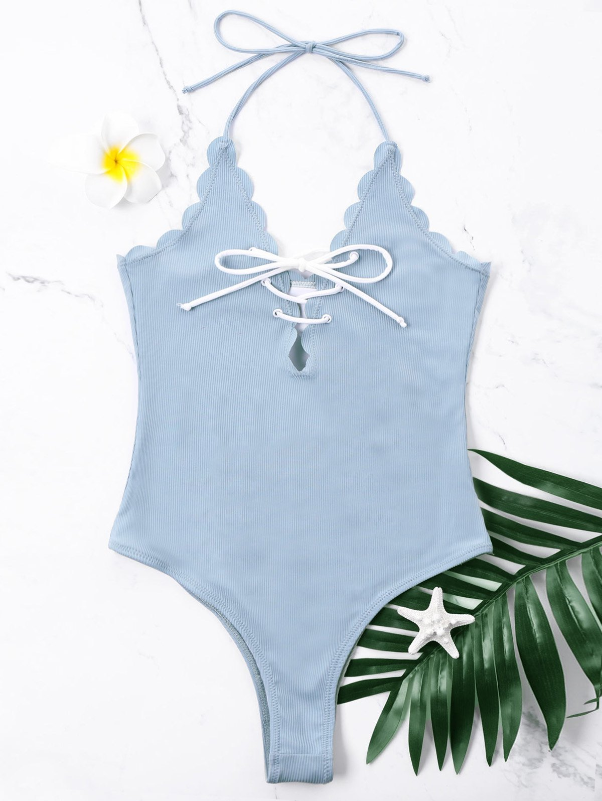 Scalloped One Piece Halter High Cut Swimwear - CLOUDY L