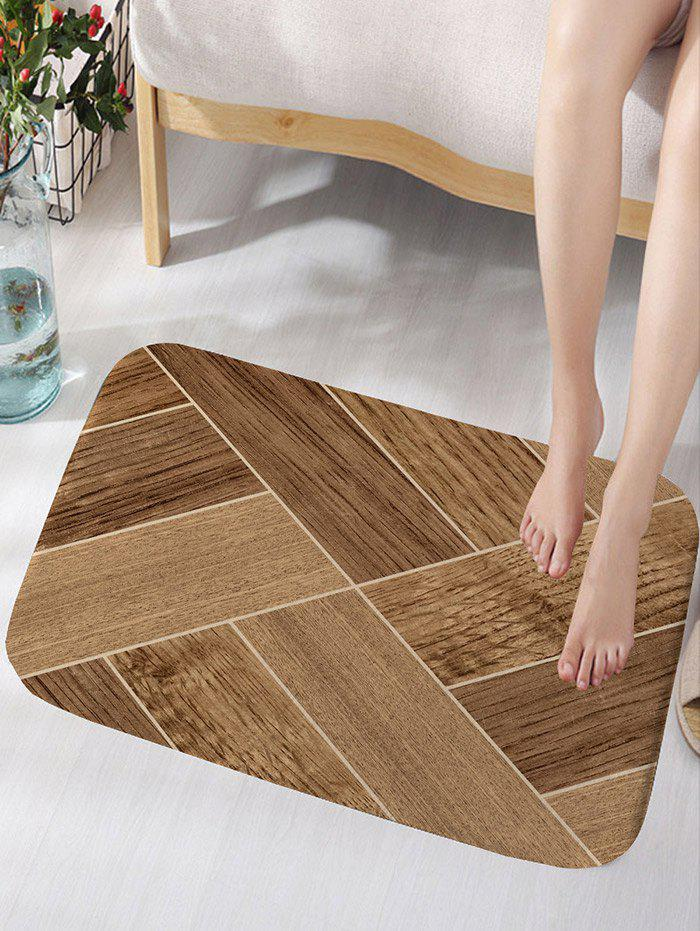 Geometric Wood Grain Skidproof Flannel Bath Mat - WOOD COLOR W16 INCH * L24 INCH