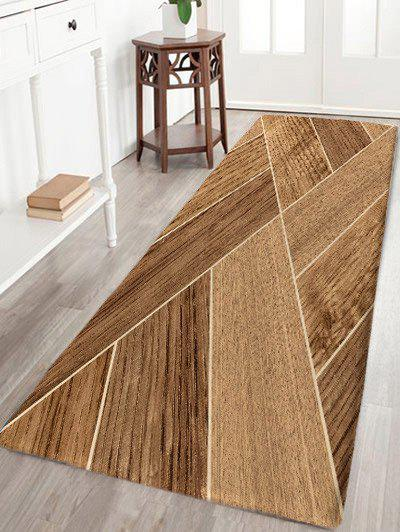 Geometric Wood Grain Skidproof Flannel Bath Mat - WOOD COLOR W24 INCH * L71 INCH