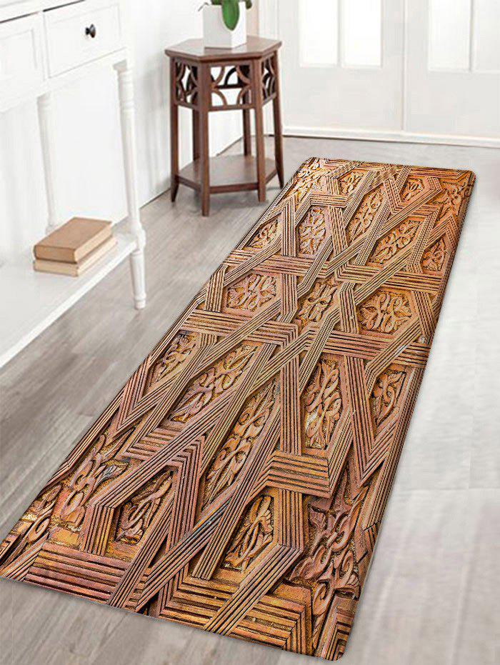 Carving Wood Pattern Skidproof Area Rug - WOOD COLOR W16 INCH * L47 INCH