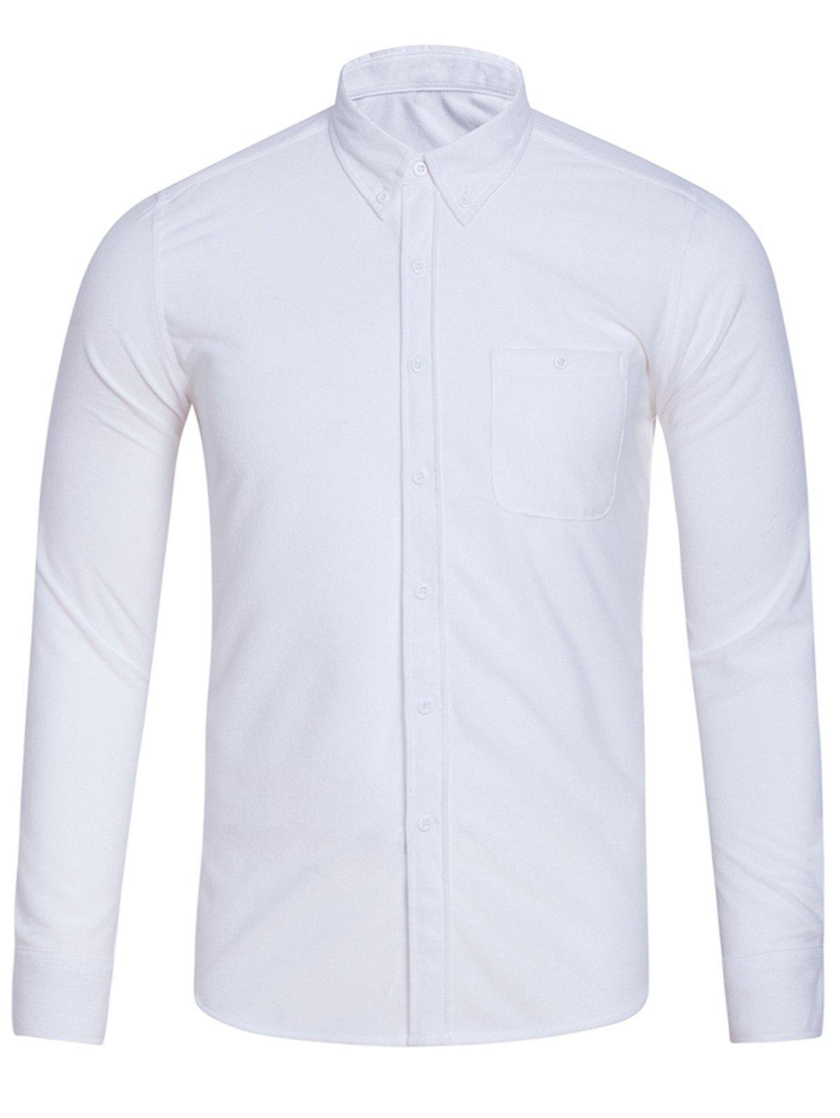 Turndown Collar Pocket Corduroy Shirt - WHITE 5XL