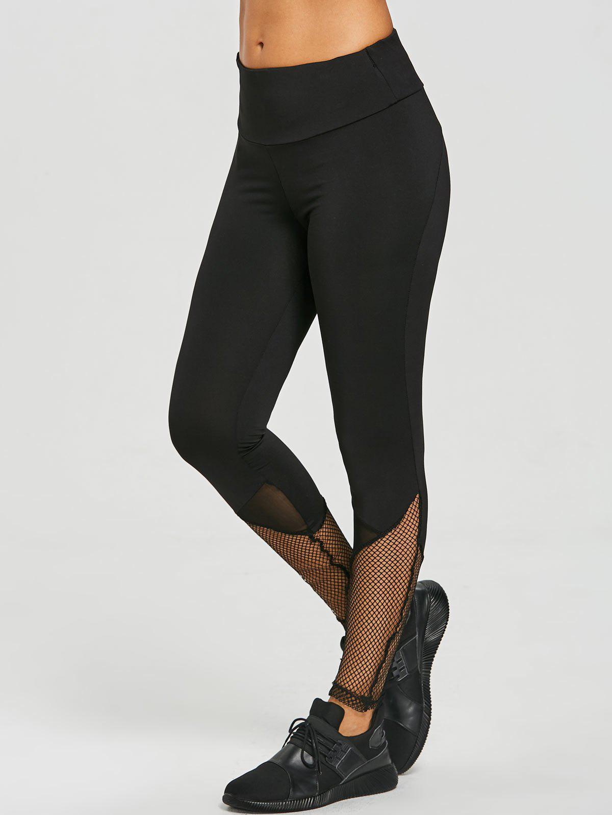Mesh Insert Leggings - BLACK S