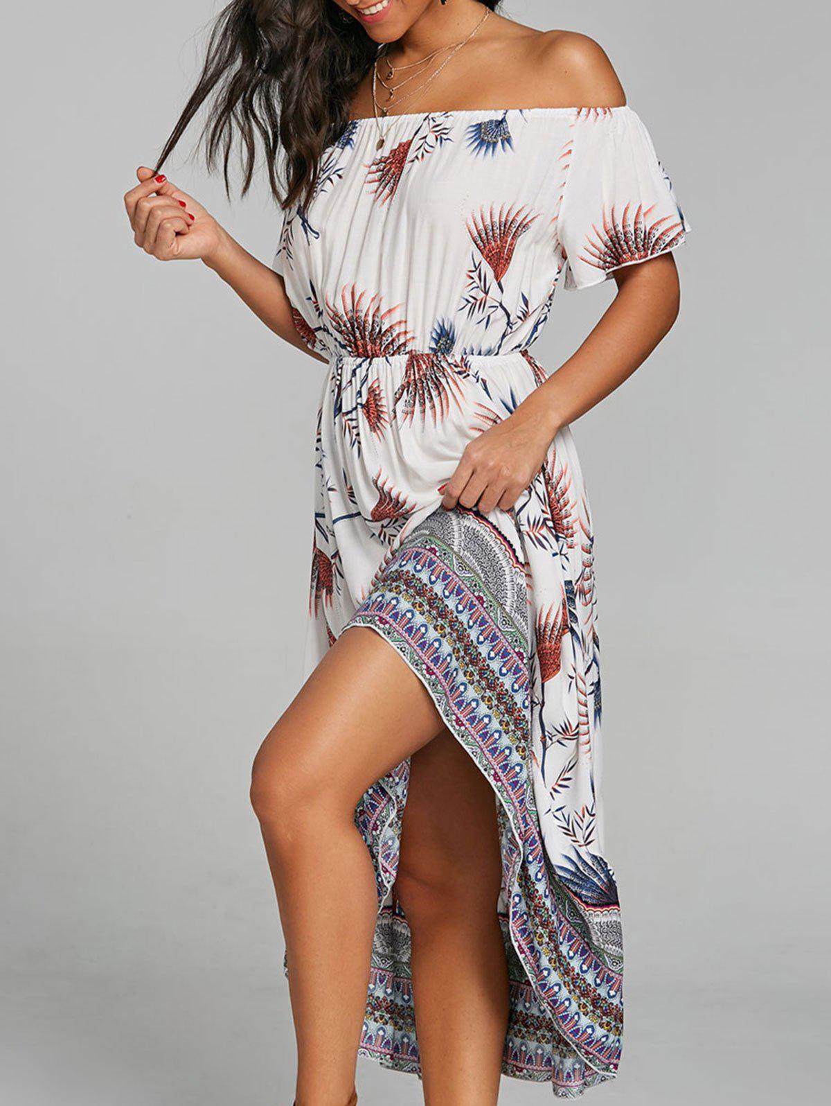 Print Off Shoulder Dip Hem Dress - WHITE M
