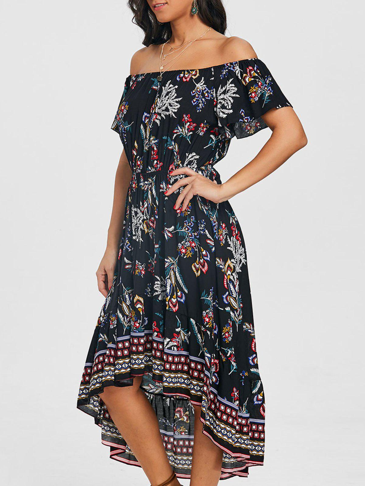 Print Off Shoulder Dip Hem Dress - BLACK L