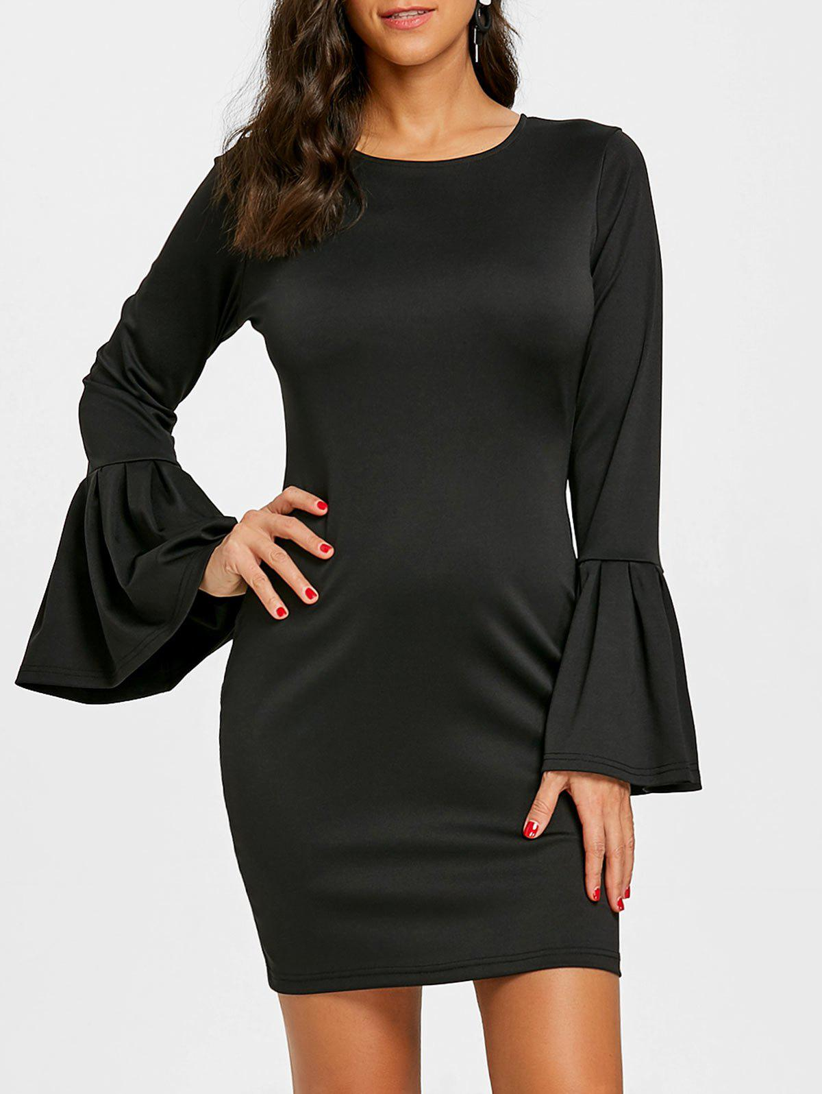 Flare Sleeve Mini Dress - BLACK XL