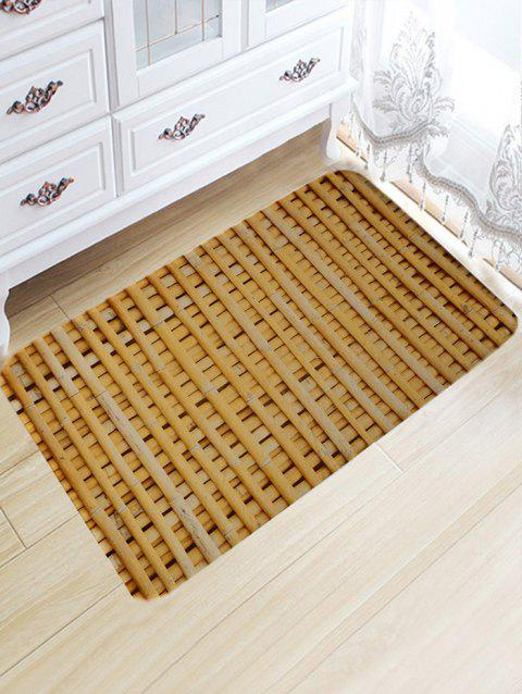 Bamboo Poles Pattern Skidproof Antislip Bath Mat - WOOD COLOR W20 INCH * L31.5 INCH