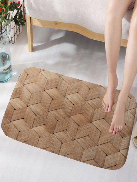 Basket Weave Pattern Skidproof Area Rug - WOOD COLOR W16 INCH * L24 INCH
