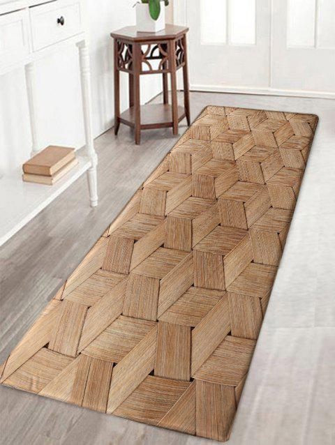 Basket Weave Pattern Skidproof Area Rug - WOOD COLOR W16 INCH * L47 INCH