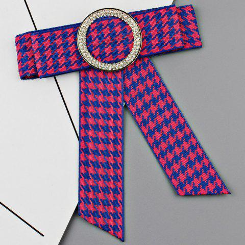Round Faux Crystal Houndstooth Bowknot Necktie Brooch - BLUE