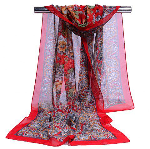 Blossoming Flowers Printed Silky Chiffon Scarf - RED