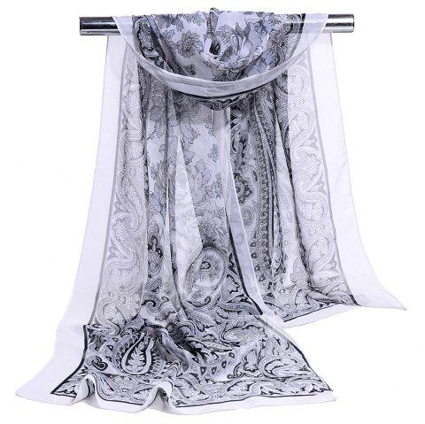 Blossoming Flowers Printed Silky Chiffon Scarf - GREY WHITE