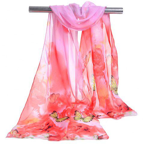 Pretty Flying Butterfly Pattern Embellished Spring Fall Scarf - PAPAYA