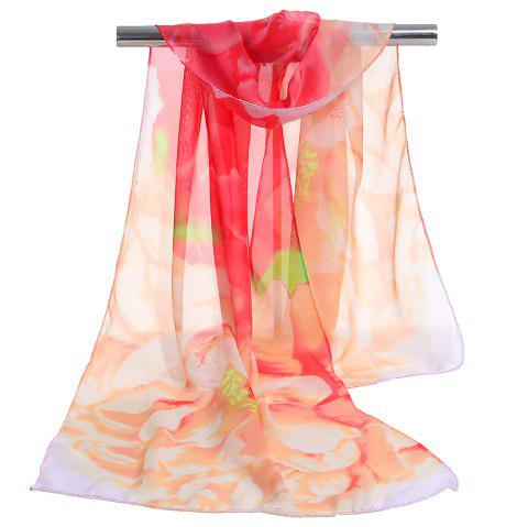 Vintage Floral Pattern Silky Chiffon Spring Fall Scarf - JACINTH
