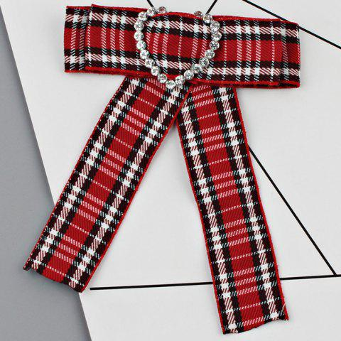 Heart Faux Crystal Plaid Bowknot Shirt Tie - RED