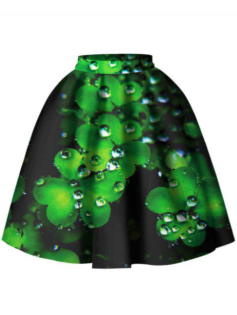 3D Leaf Print Skater Skirt - GREEN S