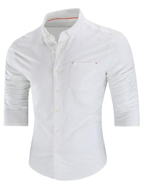 Long Sleeved Button Down Shirt - WHITE 2XL
