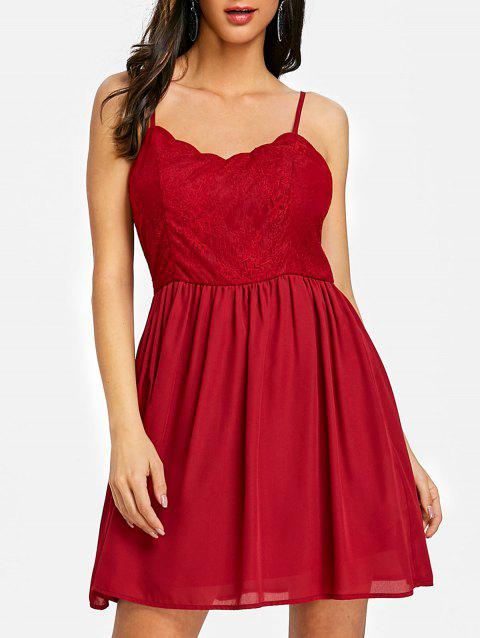 Open Back Cami Mini Swing Dress - WINE RED 2XL