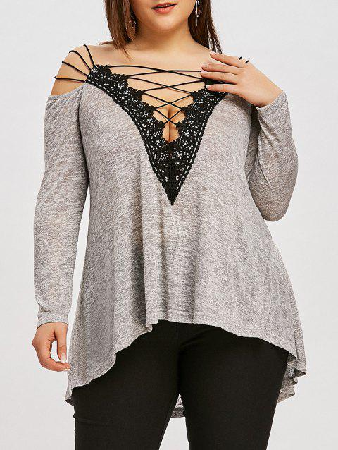 Plus Size Lace Up Dip Hem T-shirt - GRAY 3XL
