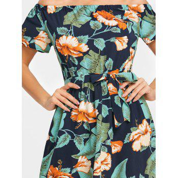 Off The Shoulder Floral Leaf Print Dress - GREEN L