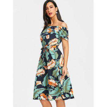 Off The Shoulder Floral Feuille Print Dress - GREEN XL