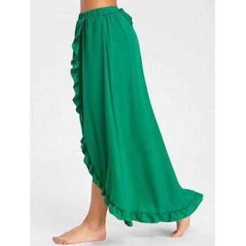 Ruffle Slit Maxi Skirt - GREEN M