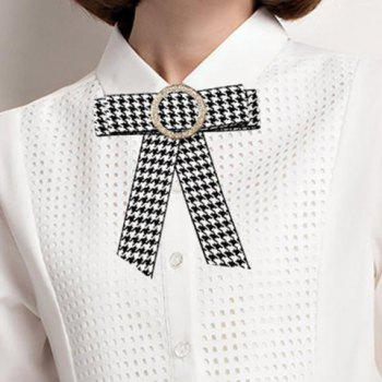 Round Faux Crystal Houndstooth Bowknot Necktie Brooch - WHITE