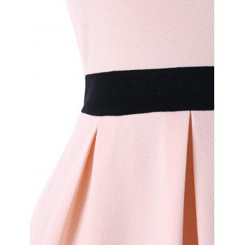 Off Shoulder Fit and Flare Dress - PINKBEIGE L