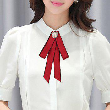 Frabic Artificial Pearl Shirt Tie - RED