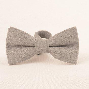Simple Solid Color Necktie Bow Tie Handkerchief Set - GRAY
