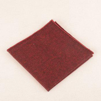 Simple Solid Color Necktie Bow Tie Handkerchief Set - WINE RED