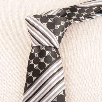 Polka Dot Striped Pattern Silky Necktie - BLACK WHITE