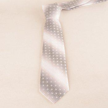 Polka Dot Striped Pattern Silky Necktie - GREY WHITE