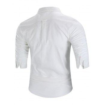 Long Sleeved Button Down Shirt - WHITE 4XL