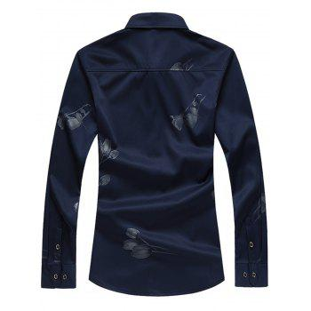 Floral Print Slim Fit Long Sleeve Shirt - BLUE XL