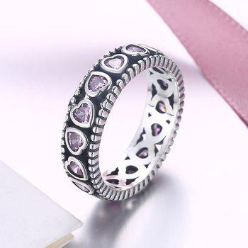 Artificial Amethyst Valentine's Day Heart Silver Ring - SILVER / PINK 6