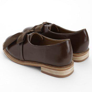 Bow Round Toe Slip-on Loafers - BROWN 35
