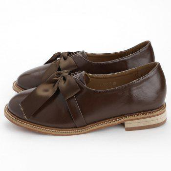 Bow Round Toe Slip-on Loafers - BROWN 36
