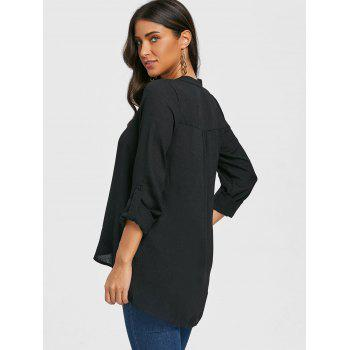 V Neck Asymmetric Tunic Blouse - BLACK S