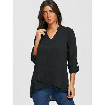 V Neck Asymmetric Tunic Blouse - BLACK L