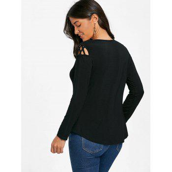 Cut Out Long Sleeve Top - BLACK XL
