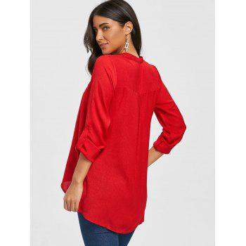 V Neck Asymmetric Tunic Blouse - RED M