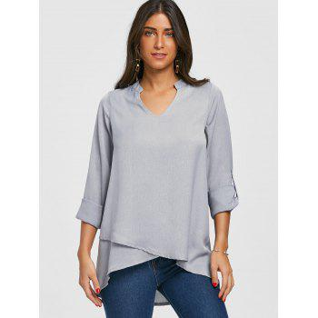 V Neck Asymmetric Tunic Blouse - GRAY XL