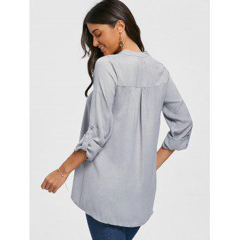 V Neck Asymmetric Tunic Blouse - GRAY M