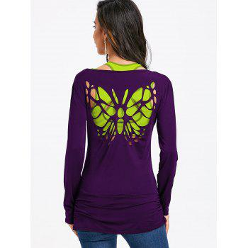 Butterfly Cut Out Back Long Sleeve T-shirt - DEEP PURPLE L
