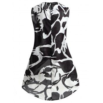 Plus Size Dip Hem Sleeveless Blouse - BLACK WHITE 3XL