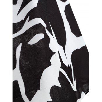 Plus Size Print Dip Hem Sleeveless Blouse - BLACK WHITE 5XL