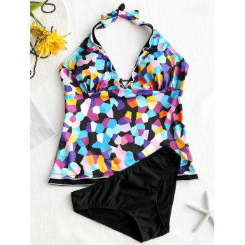 Halter Printed Low Back Tankini Set - COLORMIX S