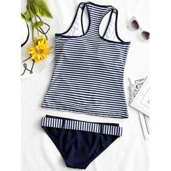 Racerback Striped V Neck Tankini - DEEP BLUE XL