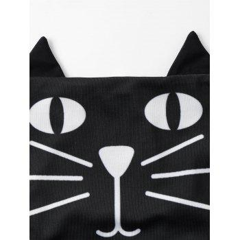 Cartoon Cat Eye Graphic Halter Neck Bikini - BLACK 2XL