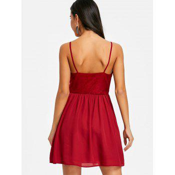 Open Back Cami Mini Swing Dress - WINE RED M